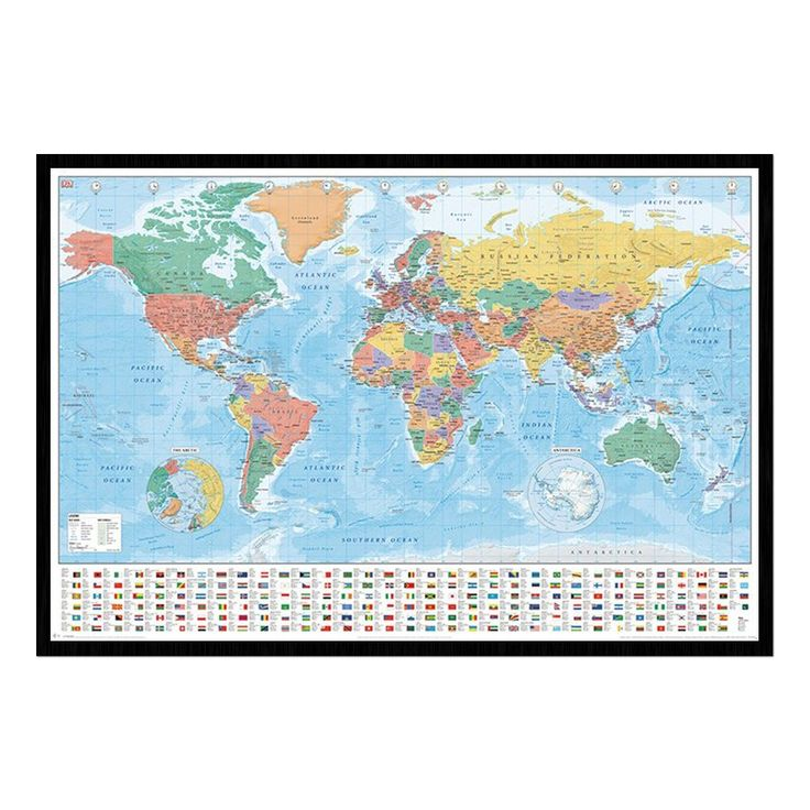 24 best cork map pin boards images on pinterest bulletin boards world map with flags and facts poster iposters sciox Images