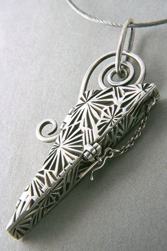 """""""Triangle Box"""" - locket by Terry Kovalcik. Silver precious metal clay (PMC+, PMC+ sheet, PMC3 paste .999), SS cable, wire & chain."""