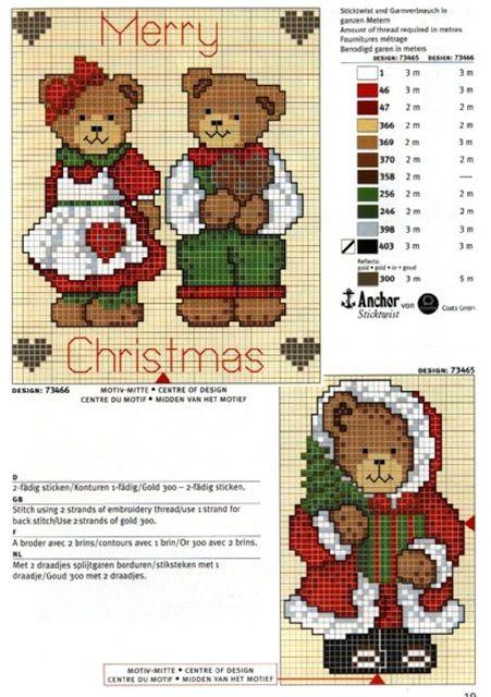 схемы новогодней вышивки тедди