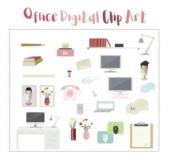 Office Digital Clip Art - Book Clip Art - Hand Drawn Digital Graphics, Blog Graphics, Office Clip Art, Pink Clip Art, Books Clip Art, Vector