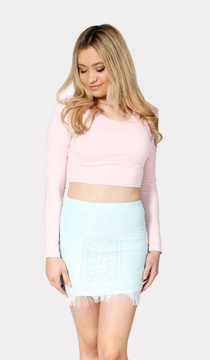 basic long sleeve crop baby pink [103740] - AU$45.00 : dragonberry!