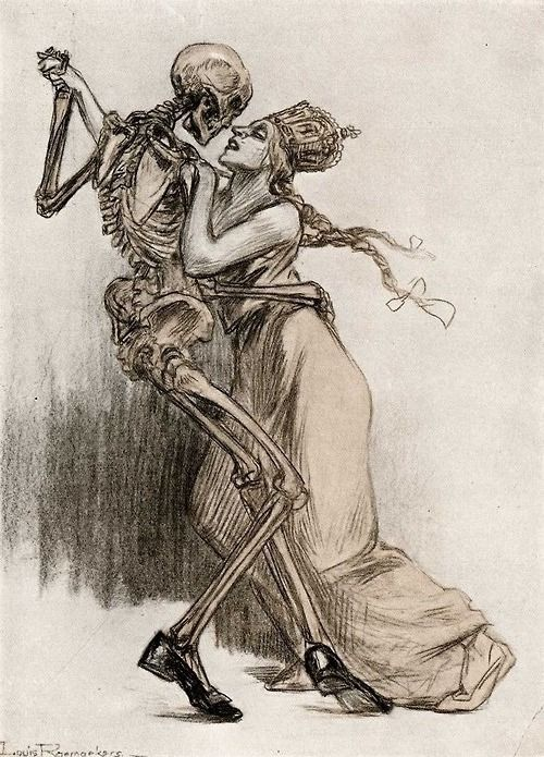 death dances with a maiden (Honestly love this, whoever did it; captures the tantalizing gaze that death will cast on those that are yearning for something that they do not know of.)
