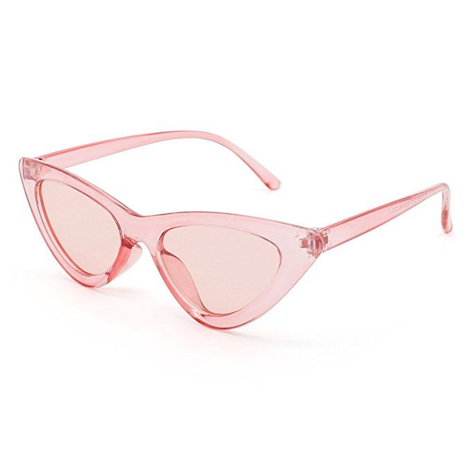 9564fb2c55 Livhò Retro Vintage Narrow Cat Eye Sunglasses for Women Clout Goggles  Plastic Frame (Clear red red)