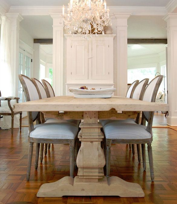Get The Look @ CoachBarn.com with our Trestle 9 Ft Dining Table and Louis XVI Side Chairs  #coachbarn #trestlediningtable #louisxvichairs