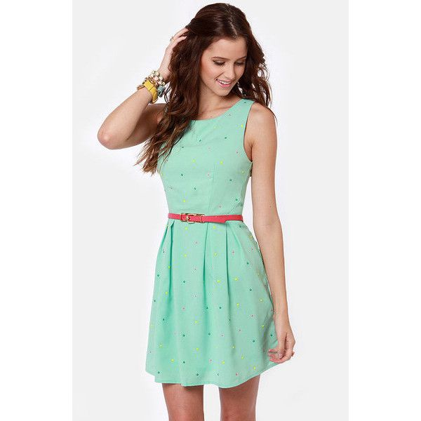 Candy Rain Mint Green Dress ❤ liked on Polyvore featuring dresses, mint green dress, green polka dot dress, evening dresses, pastel dresses and cocktail dresses