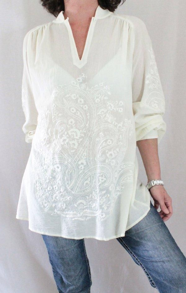 Soft Surroundings Cotton Mandarin Collar Button Embroidered Tunic Ivory Sz L…