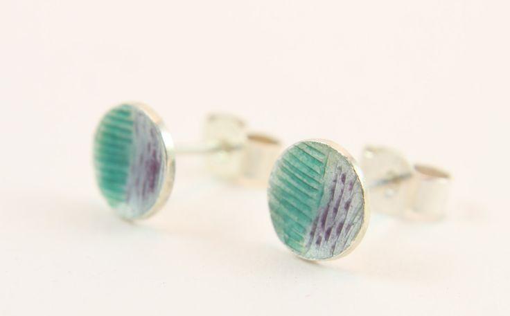 Green and purple geometric engraved enamel silver stud earrings by imogenhose on Etsy