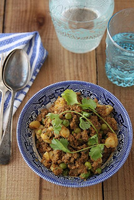 Beef keema with peas and potatoes