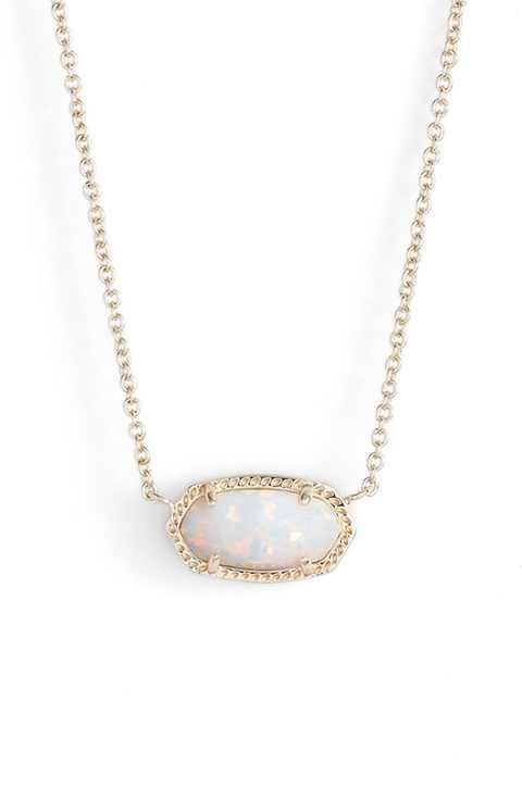 Kendra Scott 'Elisa' Pendant Necklace White Kyocera Opal/Gold :)-JL