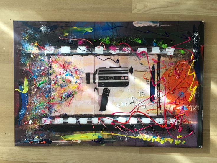 Monoprint - FILM MY FORMAT, acrylic paint on canvas, 80 x 120