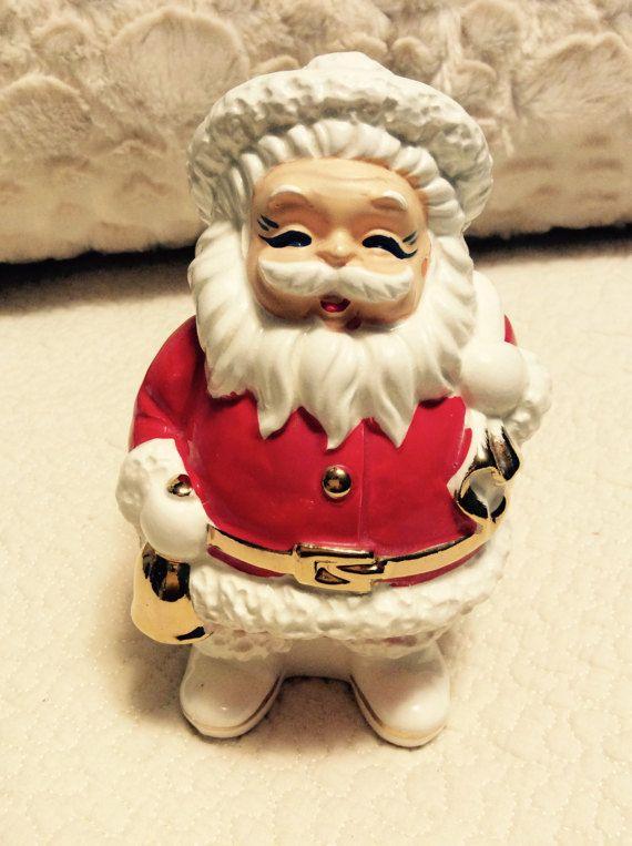 Vintage Santa Figurine Bank Jolly Happy 1950s Japan Christmas