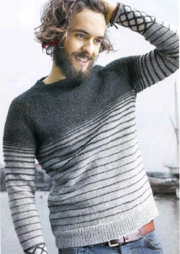 Мужской пуловер спицами   Вязание для Вас