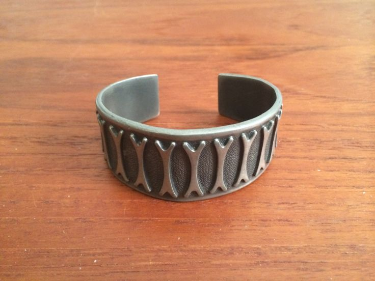 Pewter Bracelet with Bone Pattern Brodrene Mylius Norway