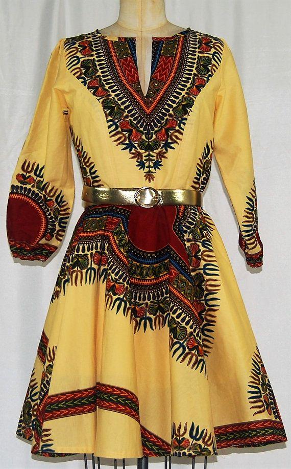 Elegant Dashiki Beige/Cream Flare Dress by ChristalinePrints