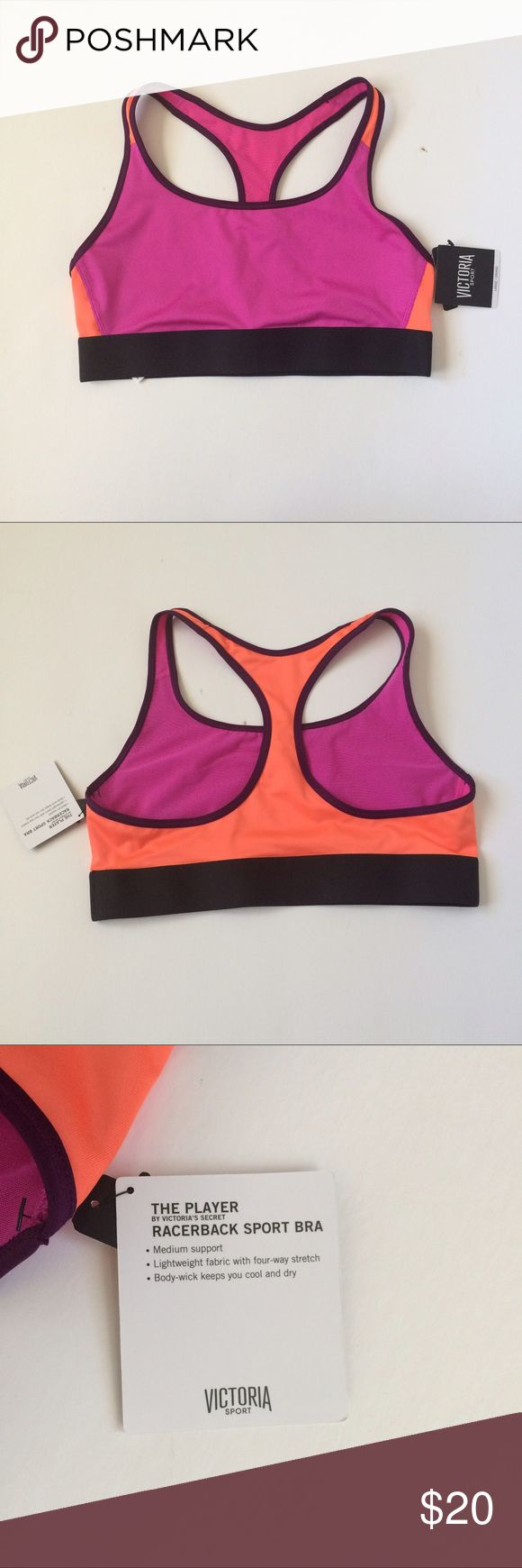 🆕(S) VS Pink/Orange Sports Bra NWT Victoria's Secret The Player Racerback Sports Bra size small in dragonfruit. This sports bra is playful and colorful, with a mix of pink and orange giving you a summer glow ☀️ Provides medium support with breathable fabric, ready for the gym or for going for a run! Victoria's Secret Intimates & Sleepwear Bras