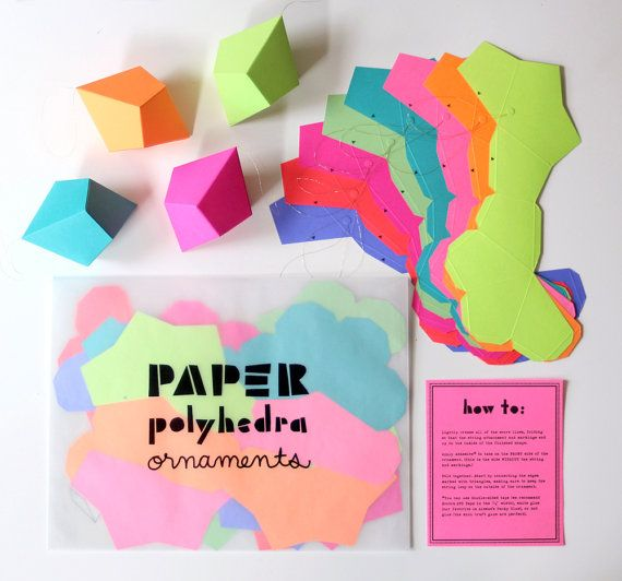 DIY Geometric Paper Ornaments - Set of 8 Paper Polyhedra Templates - Brights Palette. $25.00, via Etsy.