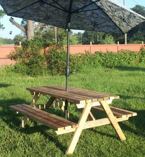 Pin by julie aylsworth on making or made it https www - Picnic table with umbrella hole ...
