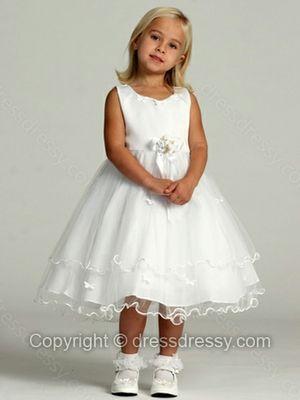 Ball Gown Scoop Tulle Satin Tea-length Flower(s) Flower Girl Dresses
