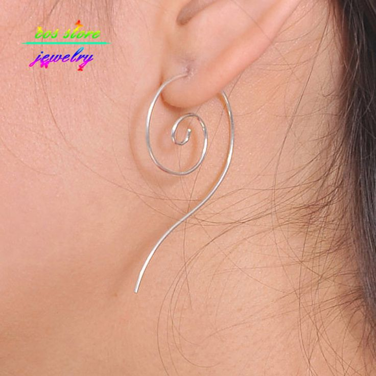 2016 New Charms Fashion Earings Jewlery Simple Boho Ethnic Totem Silver Swirl Spiral Hoop Earrings For Women Wire Earrings
