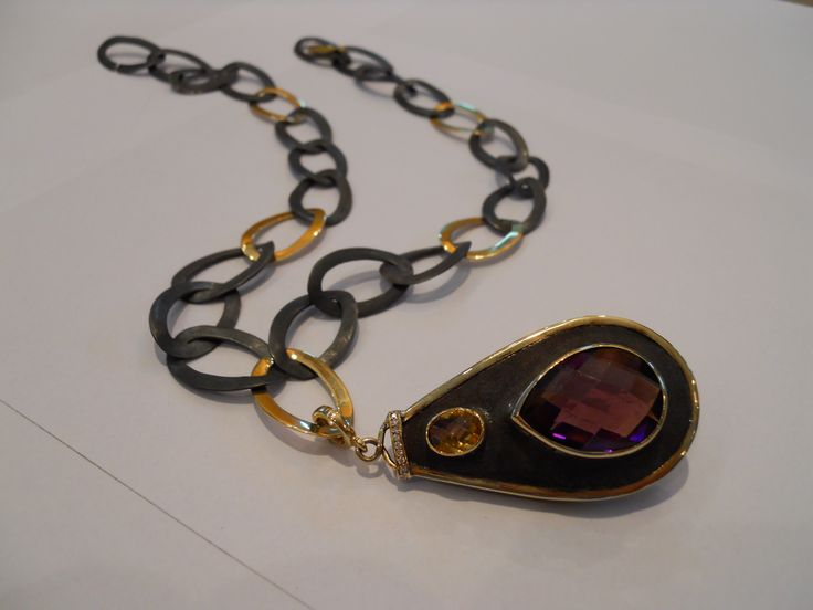 """""""Rough luxury"""" necklace Silver, 18k yellow gold, amethyst, citrine, diamonds. Two different  sides detachable pendant."""