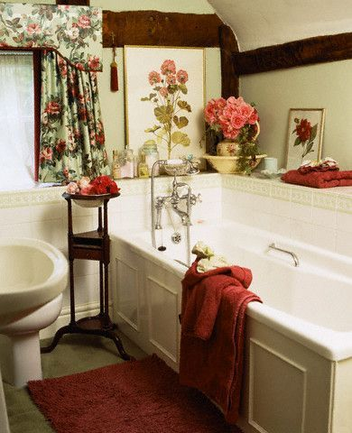 17 best images about decorating with red on pinterest for Country cottage style bathrooms