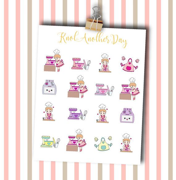 MISUs Baking Day Planner Stickers by by KnotAnotherDay on Etsy