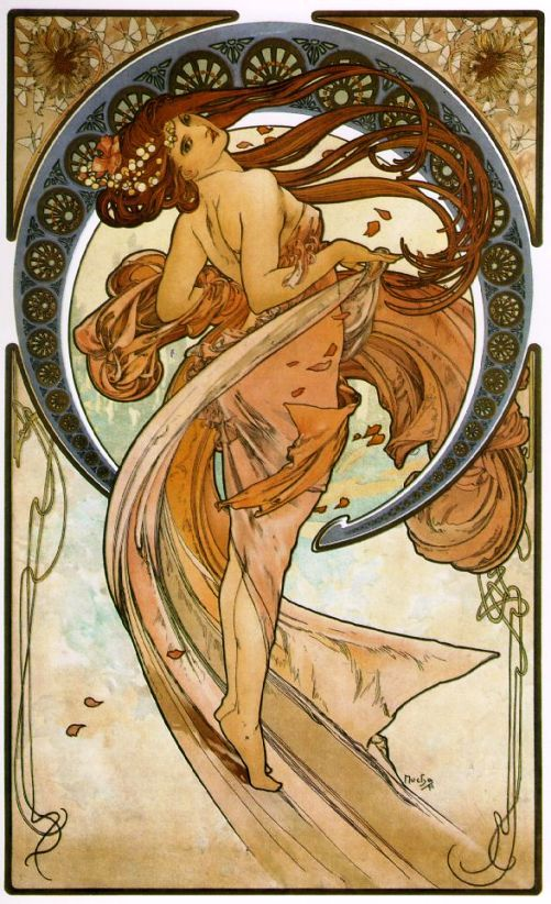 """""""Dance"""", an Art Nouveau piece done by Aplhonse Mucha (circa 1898).     I love the curves of this piece, which is prominent in Art Nouveau paintings."""