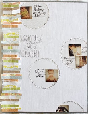 love the scrap paper and sewn look on the side posted on Studio Calico Blog Blitz by aprilfoster.blogspot.com
