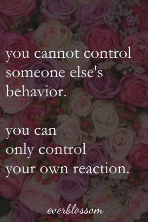 You cannot control someone else's behavior. You can only control your own reaction.