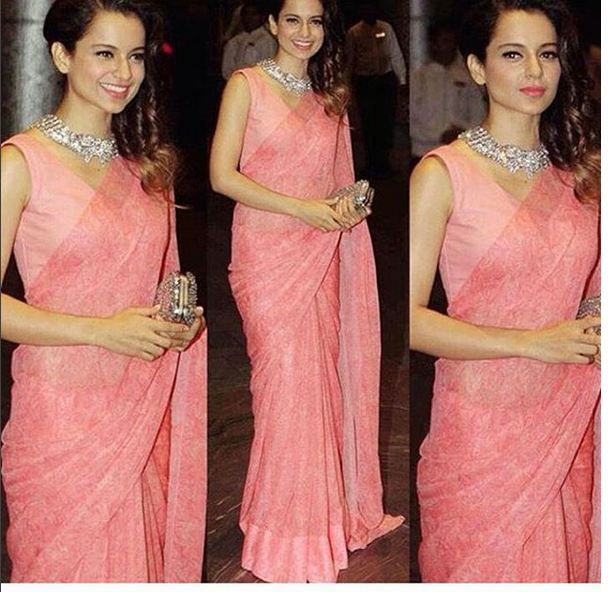 Pretty in pink. Kangana is looking beautiful and stunning in this pink saree.   #Pink #Girl's #Favorite #Color #Awesome