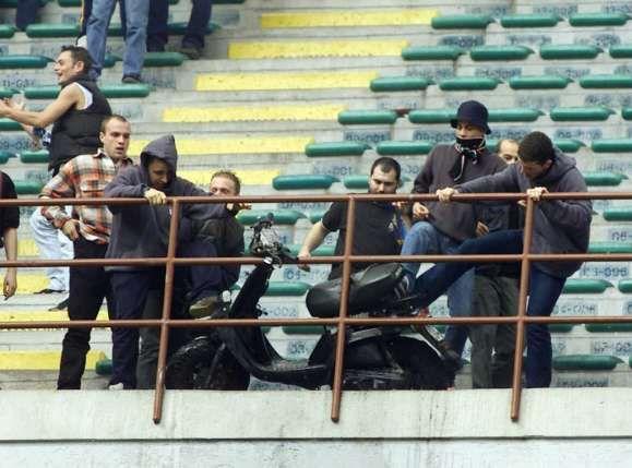 inter milan hooligans attacking someones scooter