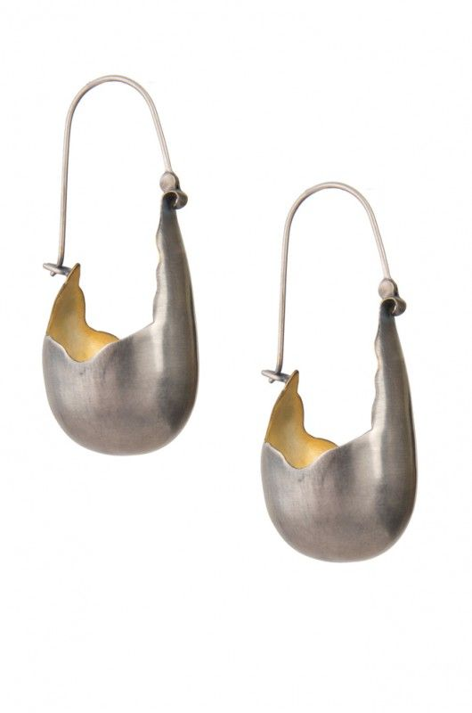 Silver and gold tone organic pod-shaped earring. Innovative design by Amrapali