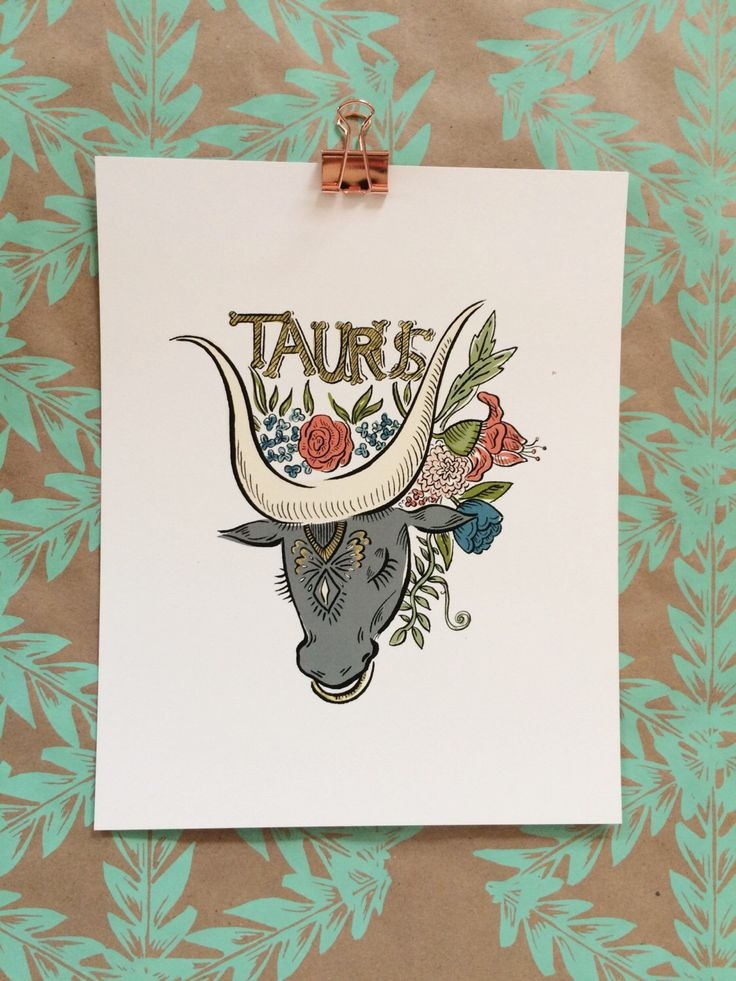Signs of the Zodiac | Taurus Illustration 8 x 10 Art Print by OliveandCoStudio on Etsy https://www.etsy.com/listing/489996427/signs-of-the-zodiac-taurus-illustration