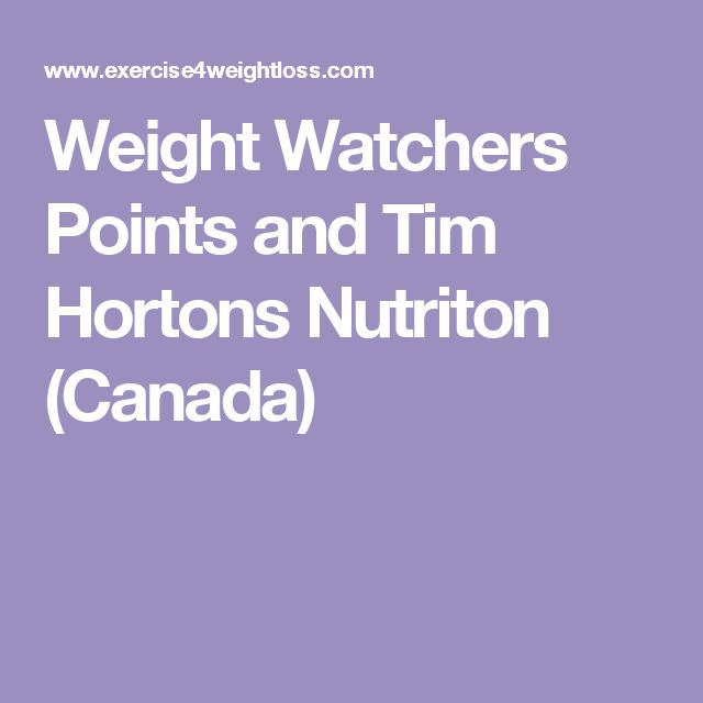 Weight Watchers Points and Tim Hortons Nutriton (Canada)