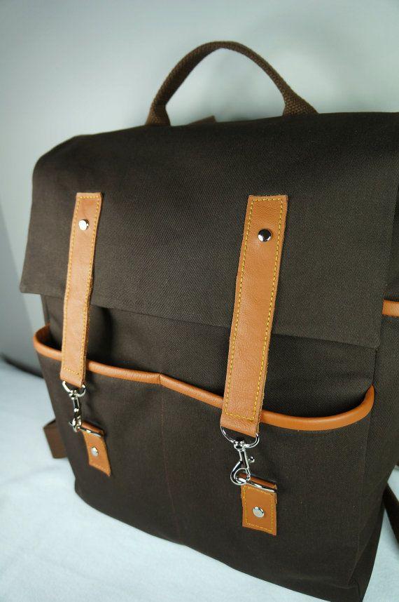 Hipster sac à dos en toile marron / Tan cuir / unisexe par HangaBag