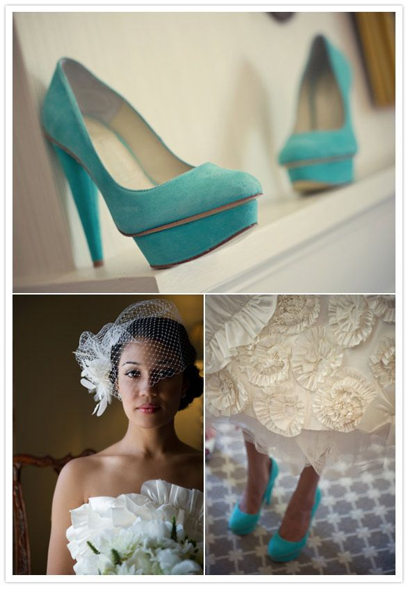 teal wedding shoes <3