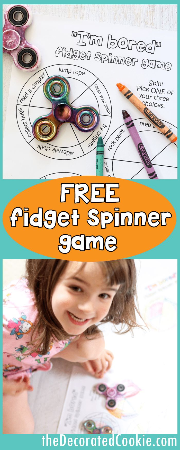 """""""I'm bored"""" fidget spinner game for kids -- FREE printables -- video how-tos"""