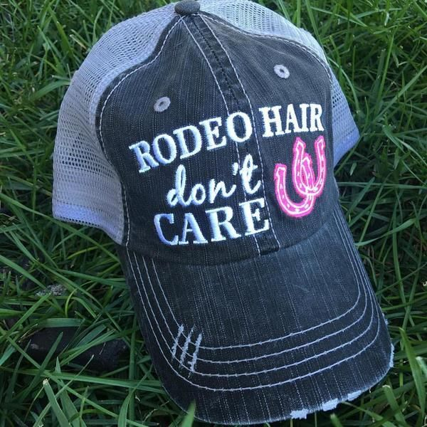 Hat {Rodeo hair don't care} Horseshoe Pink, blue or white