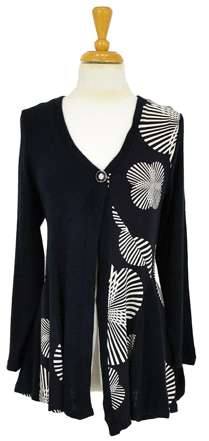 Swirl Black Cream Cardigan ~ Best selection of Tunics & matching accessories ~ Flat postage worldwide ~ Petite to Plus sizes ~ www.ilovetunics.com