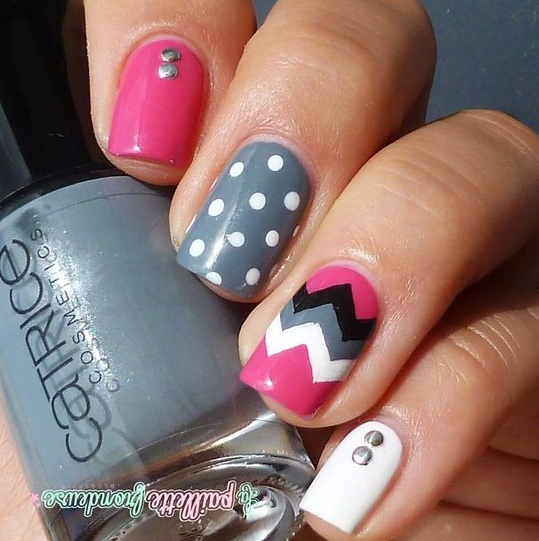pink, grey, black, and white with jewels, polkadots and chevron nail art design