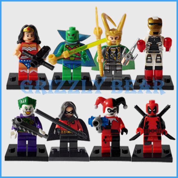 Мстители супер герой серии пластиковые minifigures харли квинн дэдпул марсианин вспышки строительные блоки кирпичи классические игрушки