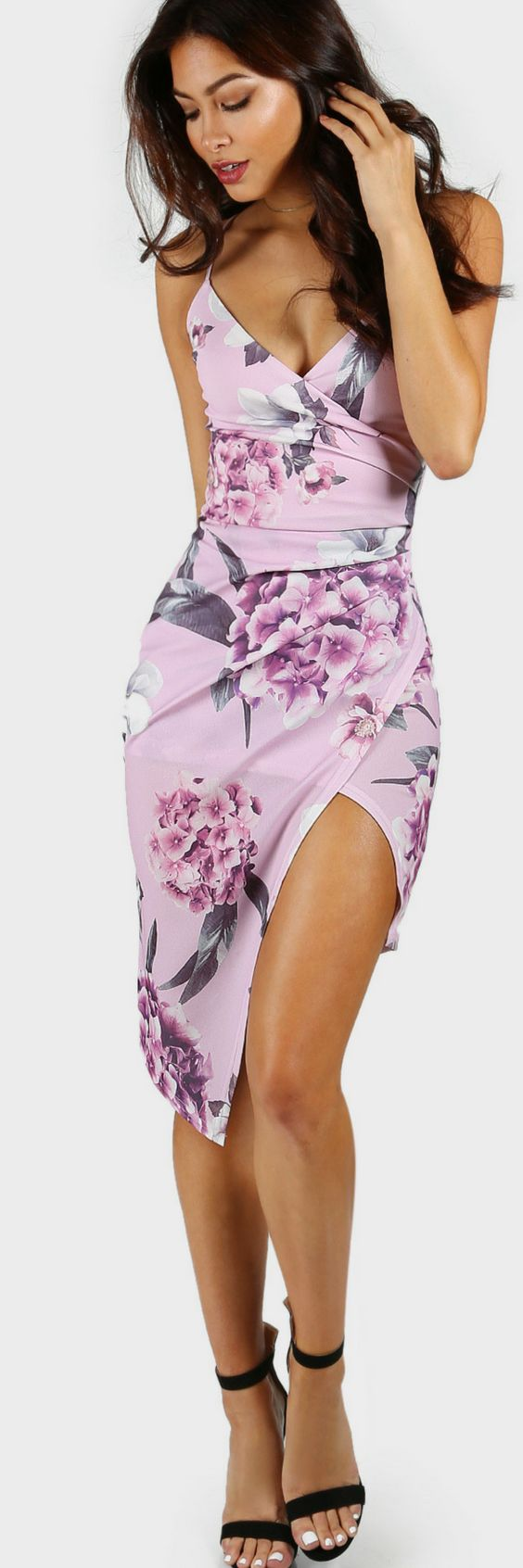 Floral Print Asymmetrical Bodycon Dress LAVENDER I Shein