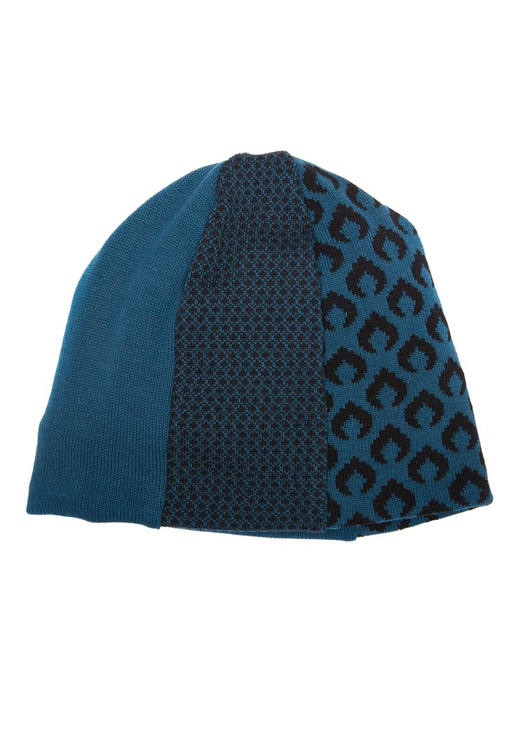 Teal and black cotton beanie hat lined with organic cotton fleece.  Original knitwear by Jennifer Fukushima.