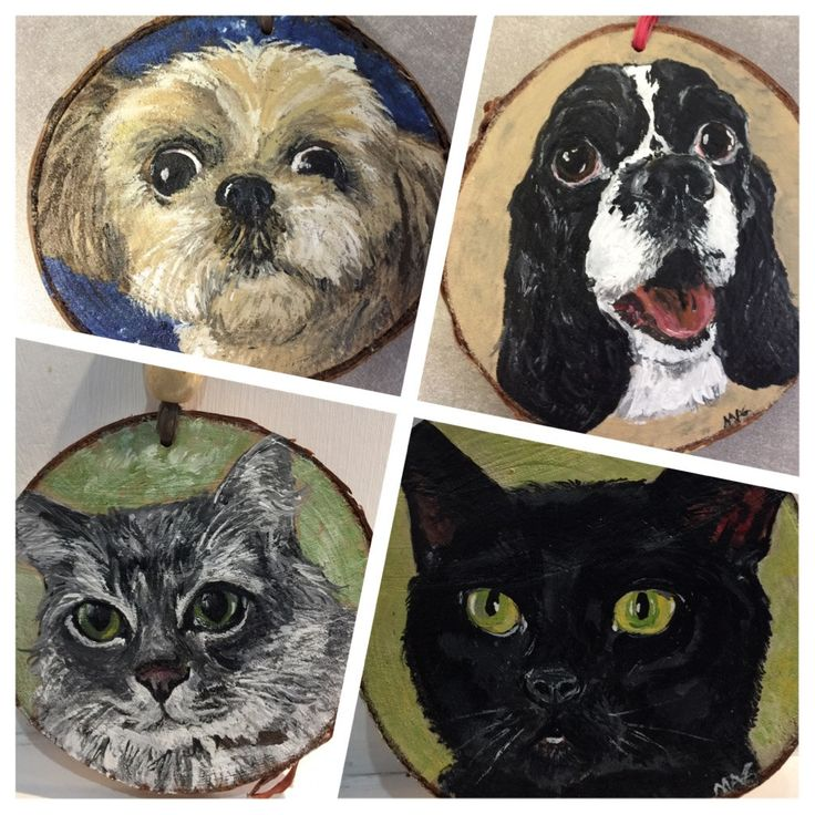 Hand Painted Pet Portrait  on Wood Slice - Mini Picture or Ornament by TheBackyardBear on Etsy