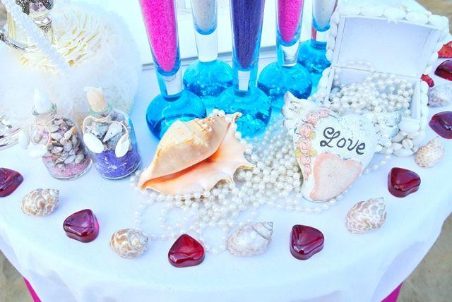 декор стола для росписи (символическая и официальная церемония на пляже)