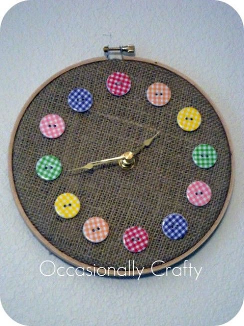 Embroidery Button Clock- Supplies:1 embroidery hoop  Sturdy fabric  12 cute buttonsEmbroidery Thread to match your buttonsHot glue Scissors3/8 in or smaller Clock Movement Kit