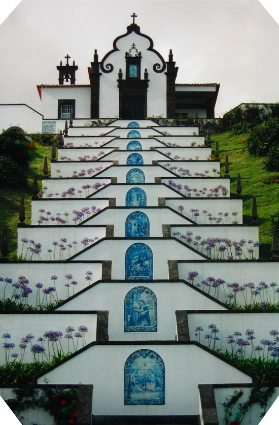 Chapel Stairs and Cross of Senhora Dos Milagres over Vila Franca Do Campo, Azores, Portugal ♥ | ©