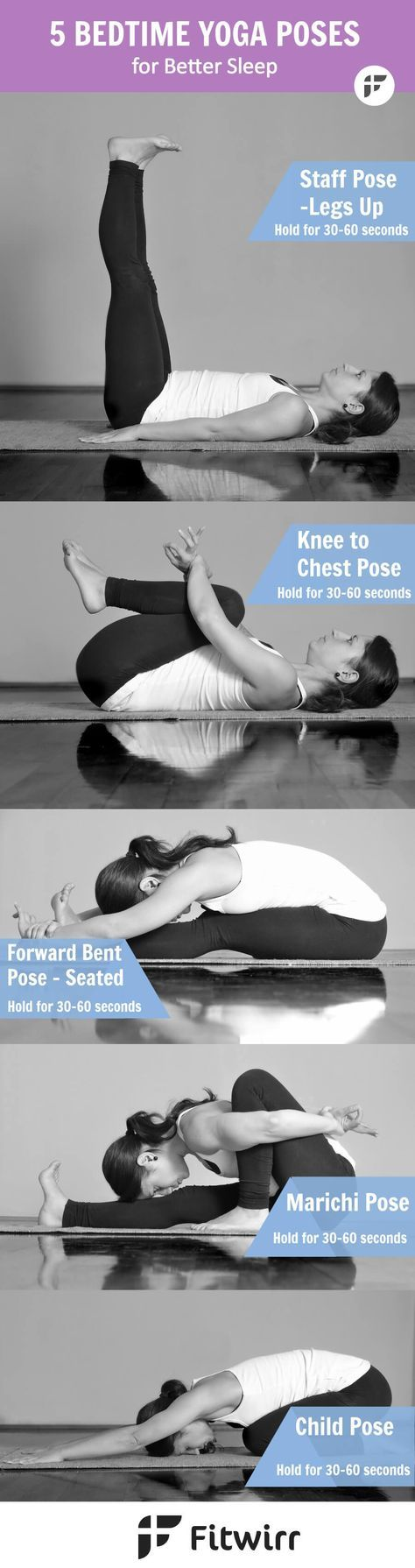 Sometimes what your body and mind need the most is to feel calm and relaxed, specially after a hard day at work. Here are five bedtime Yoga poses that can help you relax, stretch, calm and sleep better.