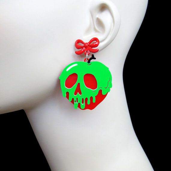 Hey, I found this really awesome Etsy listing at https://www.etsy.com/listing/241966861/poison-apple-earrings-with-red-bow