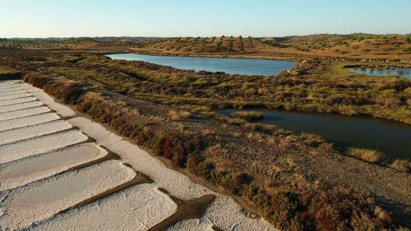 Aerial. Shooting the Drone, Salt Marshes Near Vila Real Santo Antonio, Portugal